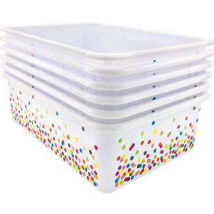 TCR32242 Confetti Large Plastic Storage Bins 6-Pack Image