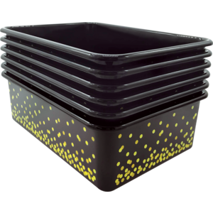 TCR32243 Black Confetti Large Plastic Storage Bins 6-Pack Image