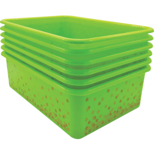TCR32244 Lime Confetti Large Plastic Storage Bins 6-Pack Image