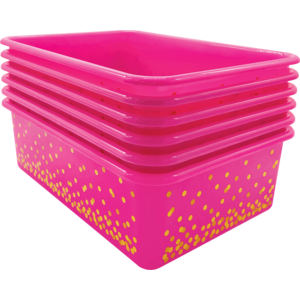 TCR32245 Pink Confetti Large Plastic Storage Bins 6-Pack Image