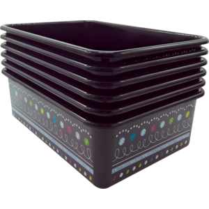 TCR32248 Chalkboard Brights Large Plastic Storage Bins 6-Pack Image