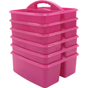 TCR32255 Pink Plastic Storage Caddies 6-Pack Image