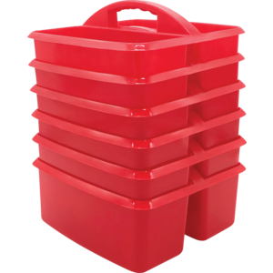 TCR32257 Red Plastic Storage Caddies 6-Pack Image