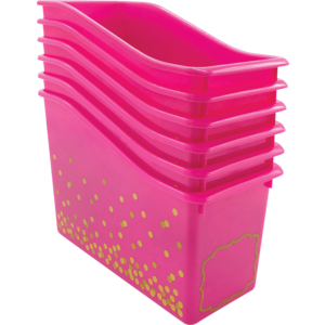 TCR32263 Pink Confetti Plastic Book Bins 6-Pack Image