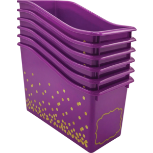 TCR32264 Purple Confetti Plastic Book Bins 6-Pack Image