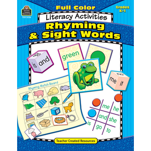 TCR3236 Full-Color Literacy Activities: Rhyming & Sight Words Image