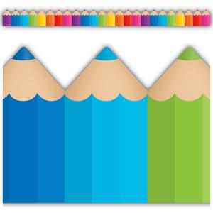 TCR3496 Colored Pencils Die-Cut Border Trim Image