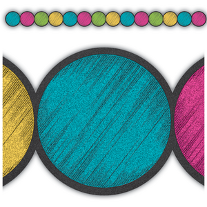 TCR3498 Chalkboard Brights Circles Die-Cut Border Trim Image