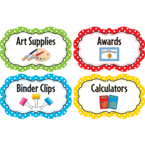 TCR3565 Polka Dots Classroom Supply Labels Image