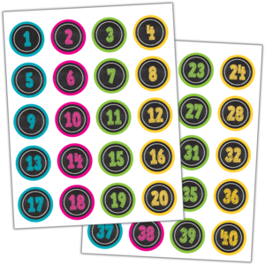 TCR3841 Chalkboard Brights Numbers Stickers Image