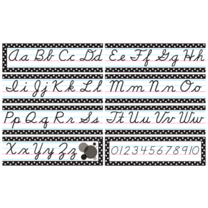 TCR4099 Black Polka Dots Cursive Mini Bulletin Board Image