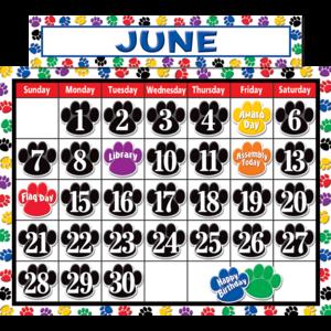 TCR4328 Colorful Paw Prints Calendar Bulletin Board Display Set Image
