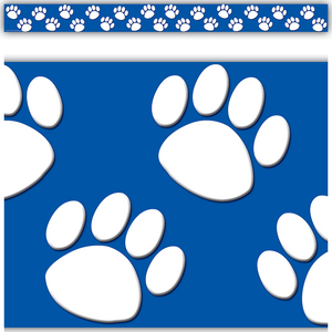 TCR4620 Blue with White Paw Prints Straight Border Trim Image