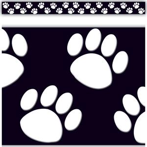 TCR4642 Black with White Paw Prints Straight Border Trim Image
