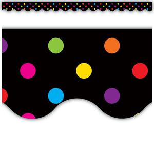 TCR4648 Multicolor Dots on Black Scalloped Border Trim Image