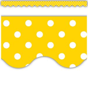 TCR4668 Yellow Polka Dots Scalloped Border Trim Image