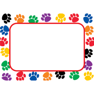TCR5168 Colorful Paw Prints Name Tags/Labels Image