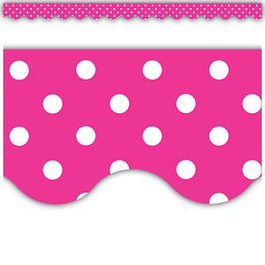 TCR5209 Hot Pink Polka Dots Scalloped Border Trim Image
