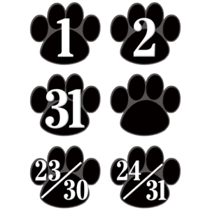 TCR5232 Black Paw Prints Calendar Days Image