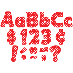 """TCR5344 Red Polka Dots Funtastic 4"""" Letters Combo Pack Image"""