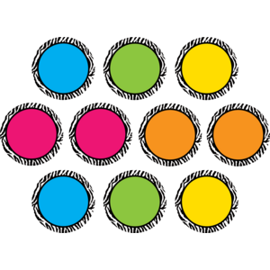 TCR5390 Zebra Colorful Circles Accents Image