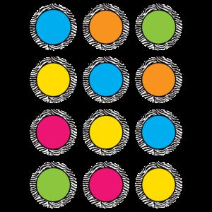 TCR5397 Zebra Colorful Circles Mini Accents Image