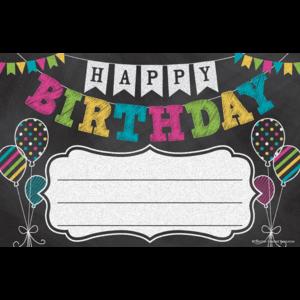 TCR5466 Chalkboard Brights Happy Birthday Awards Image