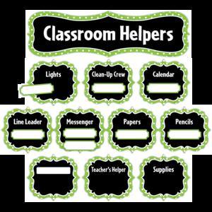 TCR5493 Lime Polka Dots Classroom Helpers Mini Bulletin Board Image
