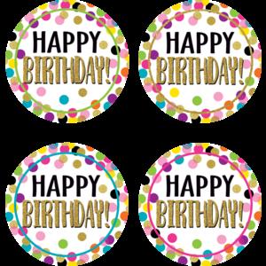 TCR5598 Confetti Happy Birthday Wear 'Em Badges Image