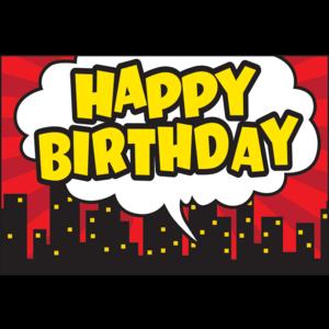 TCR5605 Superhero Happy Birthday Postcards Image