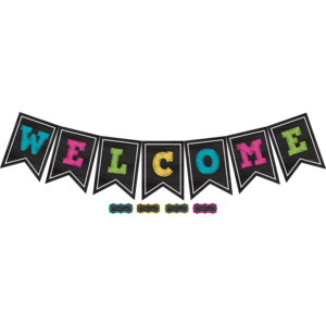 TCR5614 Chalkboard Brights Pennants Welcome Bulletin Board Display Set Image