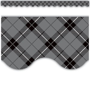 TCR5660 Gray Plaid Scalloped Border Trim Image