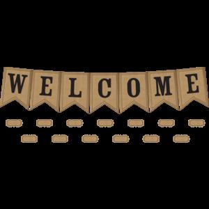 TCR5828 Burlap Pennants Welcome Bulletin Board Display Image