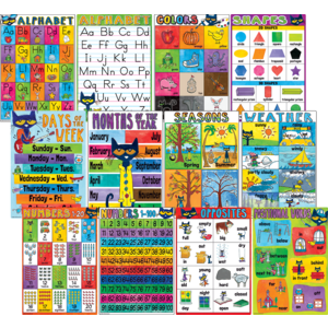 TCR62002 Pete the Cat Early Learning Small Poster Pack Image