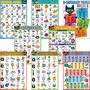 TCR62003 Pete the Cat Phonics Small Poster Pack Image
