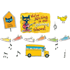 TCR62383 Pete the Cat We're Rocking in Our Learning Shoes Bulletin Board Image