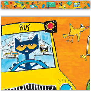 TCR63268 Pete the Cat School is Cool Straight Border Trim Image