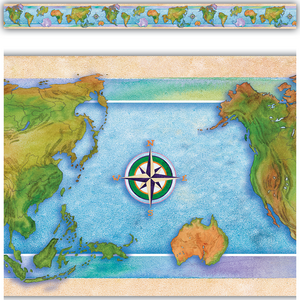 TCR63304 World Continents Straight Border Trim Image