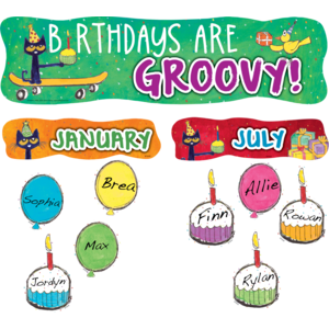 TCR63649 Pete the Cat Birthdays Are Groovy Mini Bulletin Board Image