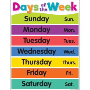 TCR7489 Colorful Days of the Week Chart Image