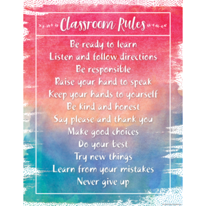 TCR7554 Watercolor Classroom Rules Chart Image