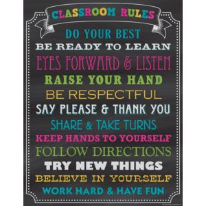 TCR7565 Chalkboard Brights Classroom Rules Chart Image