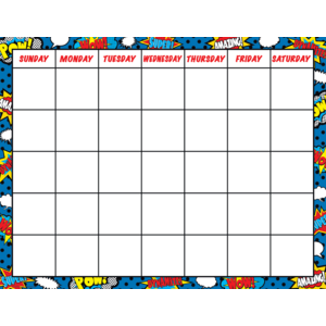 TCR7569 Superhero Calendar Chart Image