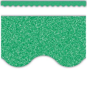 TCR77024 Green Glitz Scalloped Border Trim Image