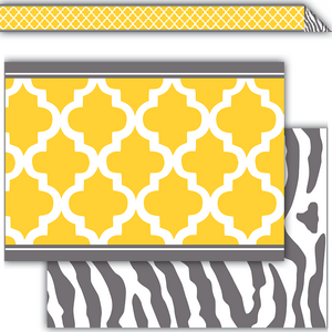 TCR77094 Lemon and Gray Wild Moroccan Double-Sided Border Image
