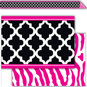TCR77098 Black and Pink Wild Moroccan Double-Sided Border Image
