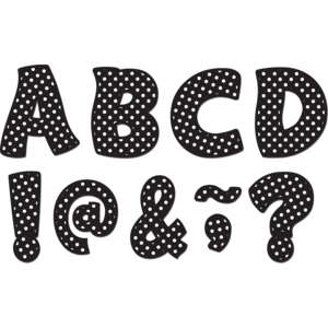 "TCR77216 Black Polka Dots Funtastic Font 3"" Magnetic Letters Image"