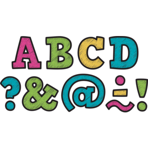 TCR77316 Clingy Thingies Chalkboard Brights Bold Block Letters Image