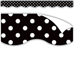TCR77338 Clingy Thingies Black Polka Dots Scalloped Borders Image