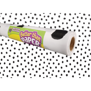 TCR77460 Black Painted Dots on White Better Than Paper Bulletin Board Roll Image